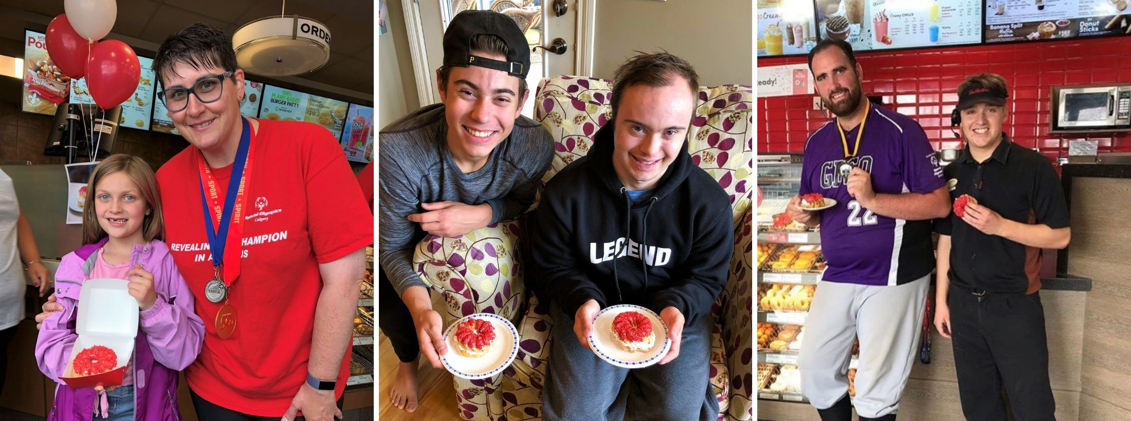 A collage of Special Olympics athletes with donuts