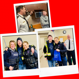 Oliver celebrates his 20th birthday as an officer for a day with the Summerside Police Services