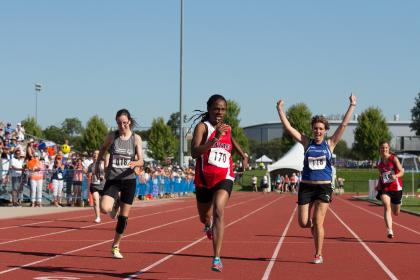 Special Olympics athletes in track race