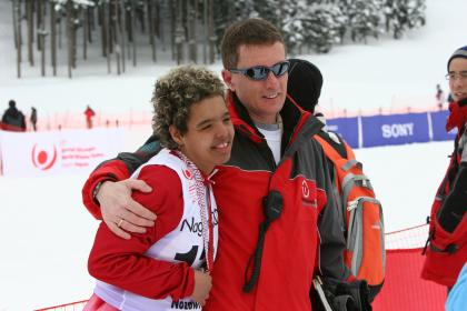Special Olympics athlete and coach