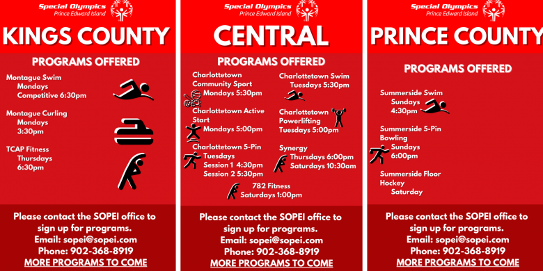 Special Olympics PEI, Return to Play, Program Schedule