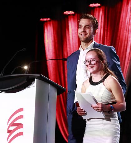 SOBC – Abbotsford athlete Paige Norton and Vancouver Canucks forward Brandon Sutter at the 2018 SCF