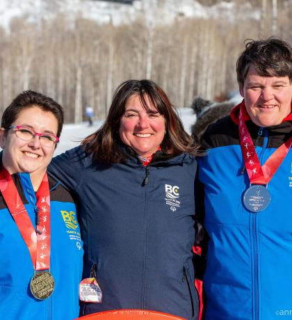 Special Olympics Team BC 2020 alpine skiing coach Misty Pagliaro with athletes Roxana Golbeck and Erin Thom.